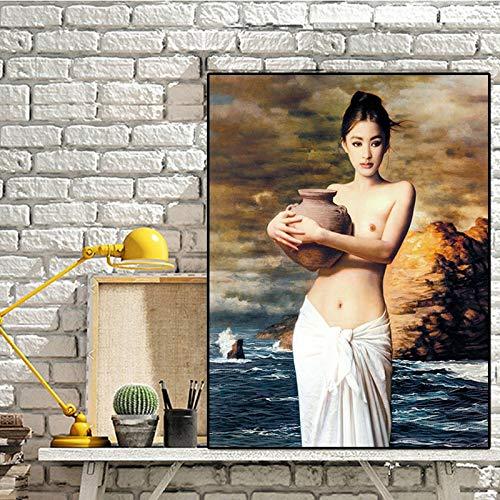 FPUYB 1000 Rompecabezas Rompecabezas para Adultos Rompecabezas de Madera clásico 53DAbstracto Chica Desnuda con Cerámica Hotel cinaviano Rompecabezas de Madera Arte para niños Juego Casual Diversión