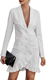 Miessial Women's Sexy V Neck Mini Blazer Dress Slim Long Sleeve Ruffled Office Dress with Pocket