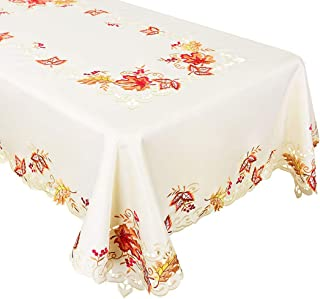 Grelucgo Embroidered Maple Leaves Harvest Tablecloth for Thanksgiving Holidays, Fall or Autumn (Rectangular 58 × 101 Inch)