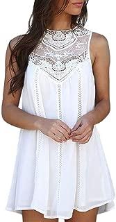 Womens Chiffon Mini Dresses Lace Solid Sleeveless Dress Casual Swing Short