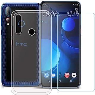 YZKJ Skal för HTC Desire 19s Cover trasparent mjuk silikon skyddande skal skal skal skal + pansarglas skärmskydd skyddsfol...