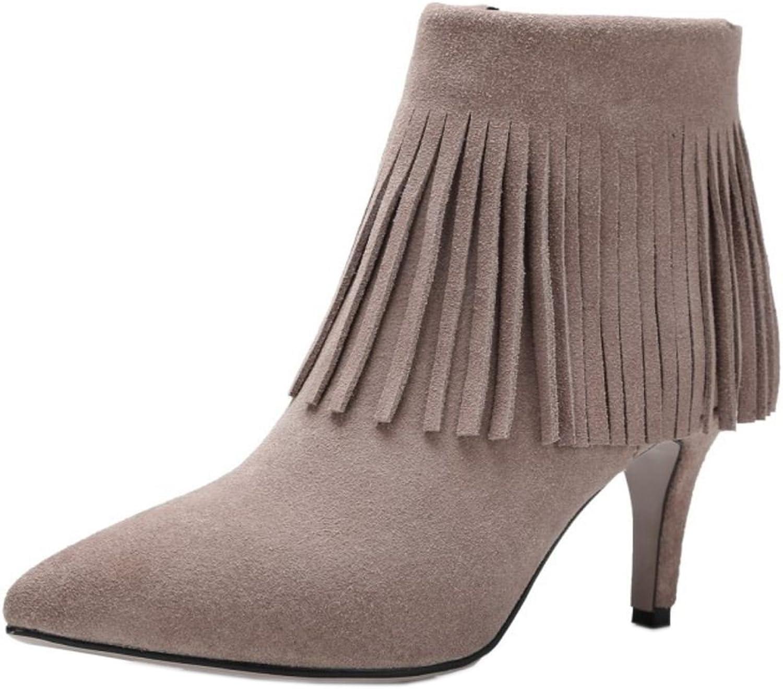 TAOFFEN Women Fashion Fringe High Heels Dress Boots Ankle