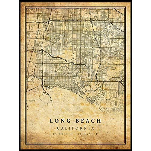 Long Beach map Vintage Style Poster Print   Old City Artwork Prints   Antique Style Home Decor   California Wall Art Gift   map Decorations 16x20