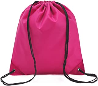 Bullidea Drawstring Bag Waterproof Solid Color Shoulder Backbag Gym Folding Bag for School Travel Or Sport(Rose)