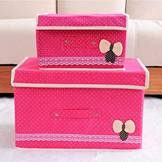 PPCP Foldable Storage Box with Lid Storage Box (Color : Pink)