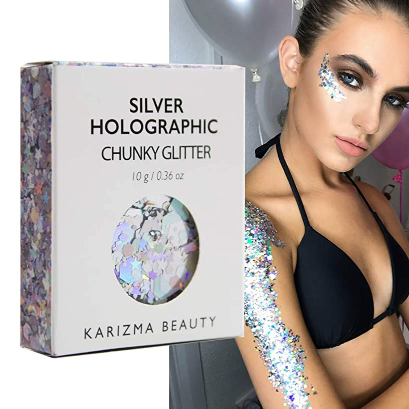 Silver Holographic Chunky Glitter ? KARIZMA BEAUTY ? 10g Festival Glitter Cosmetic Face Body Hair Nails