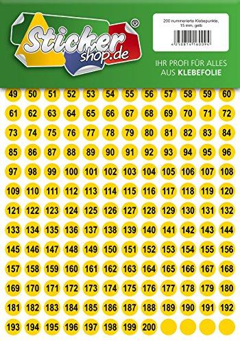 200 nummerierte Klebepunkte, 15 mm, gelb, aus PVC Folie, wetterfest, Markierungspunkte Kreise Punkte Zahlen Nummern Aufkleber