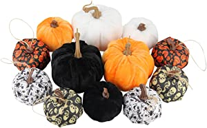 12Pcs Mini Artificial Pumpkins Fabric Printed Halloween Fake Pumpkins Fall Autumn Decor for Home Party Kitchen Tabletop Decoration,Assorted Sizes(Mixed-Colors)