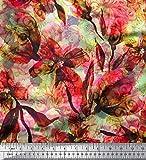 Soimoi Orange Samt Stoff Blumen & Textur Stoff drucken