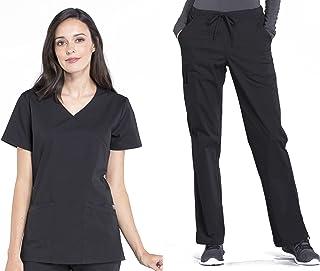 CHEROKEE Workwear Professionals Women's Mock Wrap Top WW655 & Drawstring Pant WW160 Scrub Set