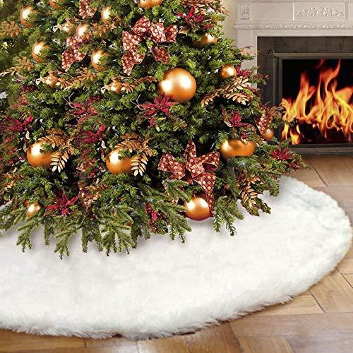 Zwinkle Baumdecke Weihnachtsbaum Decke, 76cm Weihnachtsbaumdecke Runde Form Schneeflocke Weiß Plüsch Christbaumständer Deko Weihnachtsbaum Dekorationen für Weihnachten
