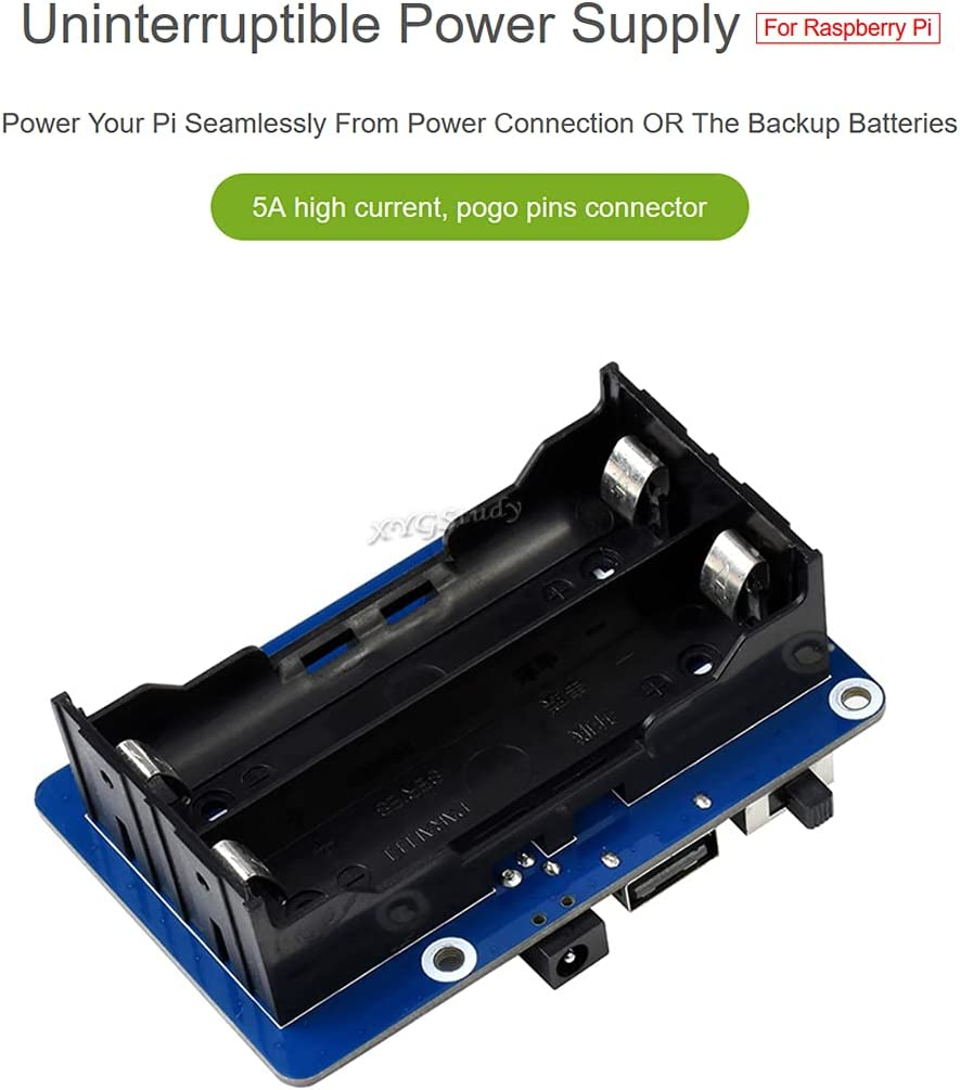 XYGStudy UPS HAT (B) for Raspberry Pi with 5V Uninterruptible Power Supply 5A High Current with Pogo Pins Connector