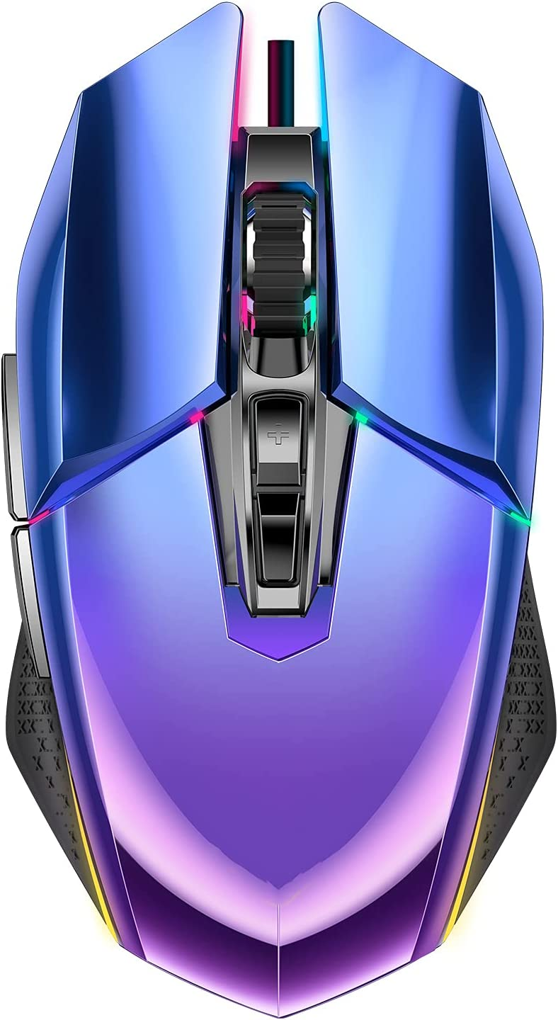 Nesan Fire Wired Gaming Mouse, Ergonomic Computer Mouse with 7 Programmed Buttons, RGB Optical Gamer Mice Mouse, 10000 DPI Optical Sensor, Bluish Violet