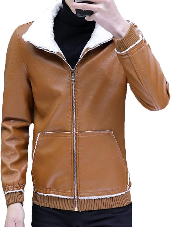 4d5cd1cad7 Zantt Men's Men's Men's Linen Fleece Winter Faux Leather Biker Motorcycle  Jacket Coat Khaki 2XL 568281
