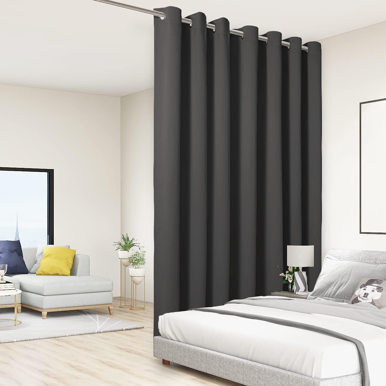 BONZER Room Divider Curtain Total Privacy Wall Grommet Thermal Insulated  Soundproof Extra Wide Blackout Curtains for Bedroom Living Room, 20ft Wide x  ...