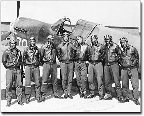 Tuskegee Airmen Weekly update Regular discount Posed w P-40 Warhawk H WWII 11x14 Museum Silver