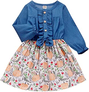 Swyss Toddler Baby Girls Pumpkin Printed Denim Patchwork Dress Casual Dress Outfits for Halloween Thanksgiving