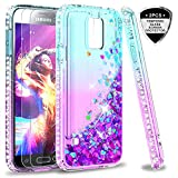 Galaxy S5 Case, S5 Glitter Case with Tempered Glass Screen Protector [2 Pack] for Girls Women, LeYi Bling Sparkle Diamond Liquid Quicksand Flowing Cute Phone Case for Samsung Galaxy S5 ZX Teal/Purple