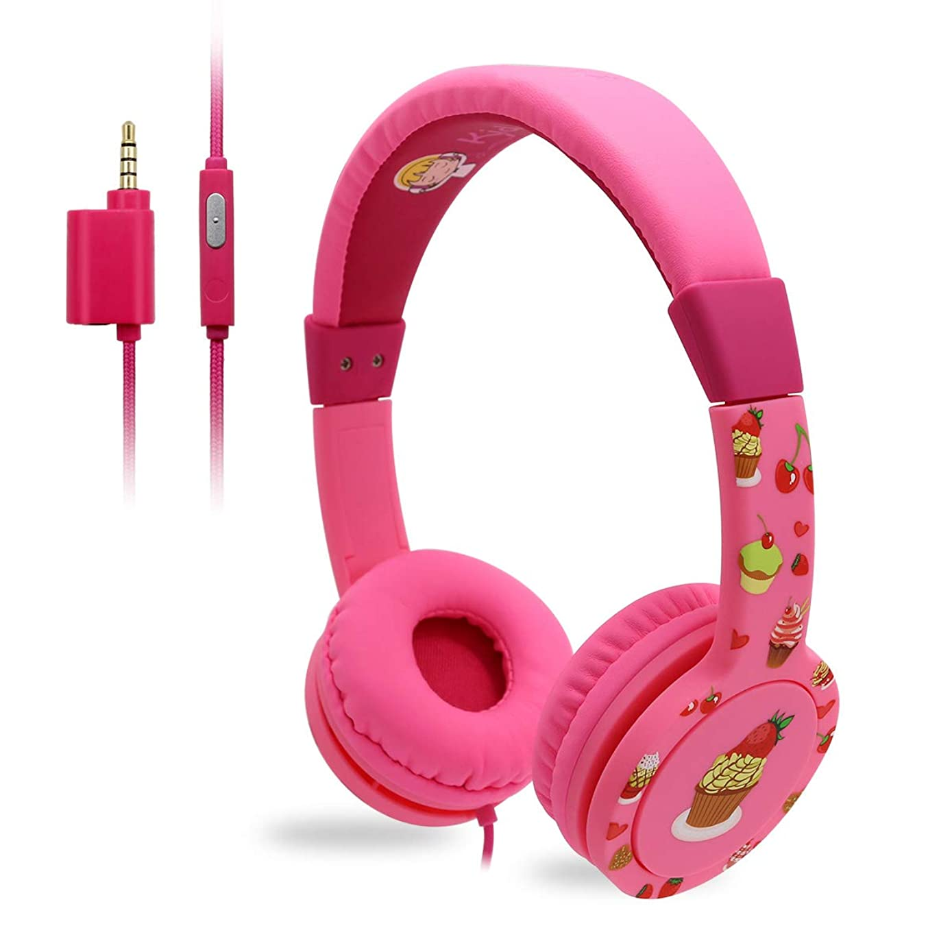 EasySMX Kids Headphones - Wired Headphones for Children Girls Boys, Adjustable Headband, Stereo Sound, in line Control,Share Port, 3.5mm Aux Jack, Child-Friendly ABS, 85dB Volume Limited - Pink