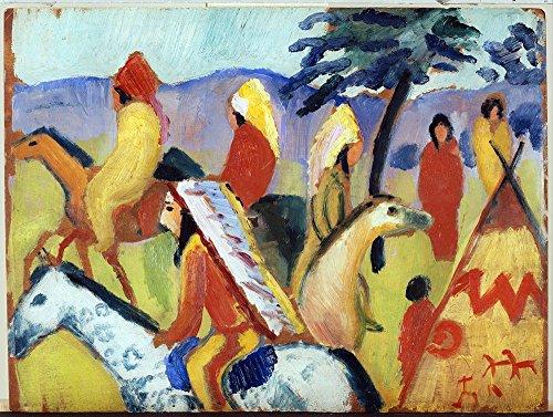 Het Museum Outlet - August Macke - Rijden rond de Indiase tent, Stretched Canvas Gallery verpakt. 16 x 20 cm.