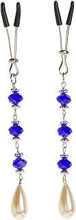 Bijoux De Nip Nipple Clamp Tweezer Chrome Blue Beads Pearl Drop