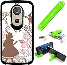 Hybrid Rugged Hard Cover Case Compatible with Moto [G7 Play] - Alice in Wonderland Shadow Lookclock (with Free Phone Stand Gift!)