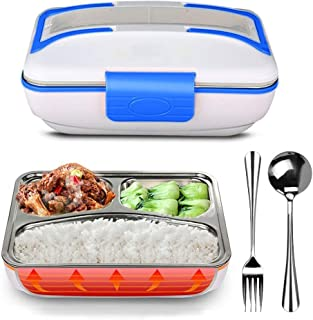 LOHOME Electric Heating Lunch Box - Insulated Lunch Box Bento Meal Heater Food Warmer Stainless Steel Portable Lunch Containers for Home & Office Use 110V with Free Spoon & Fork (Blue)