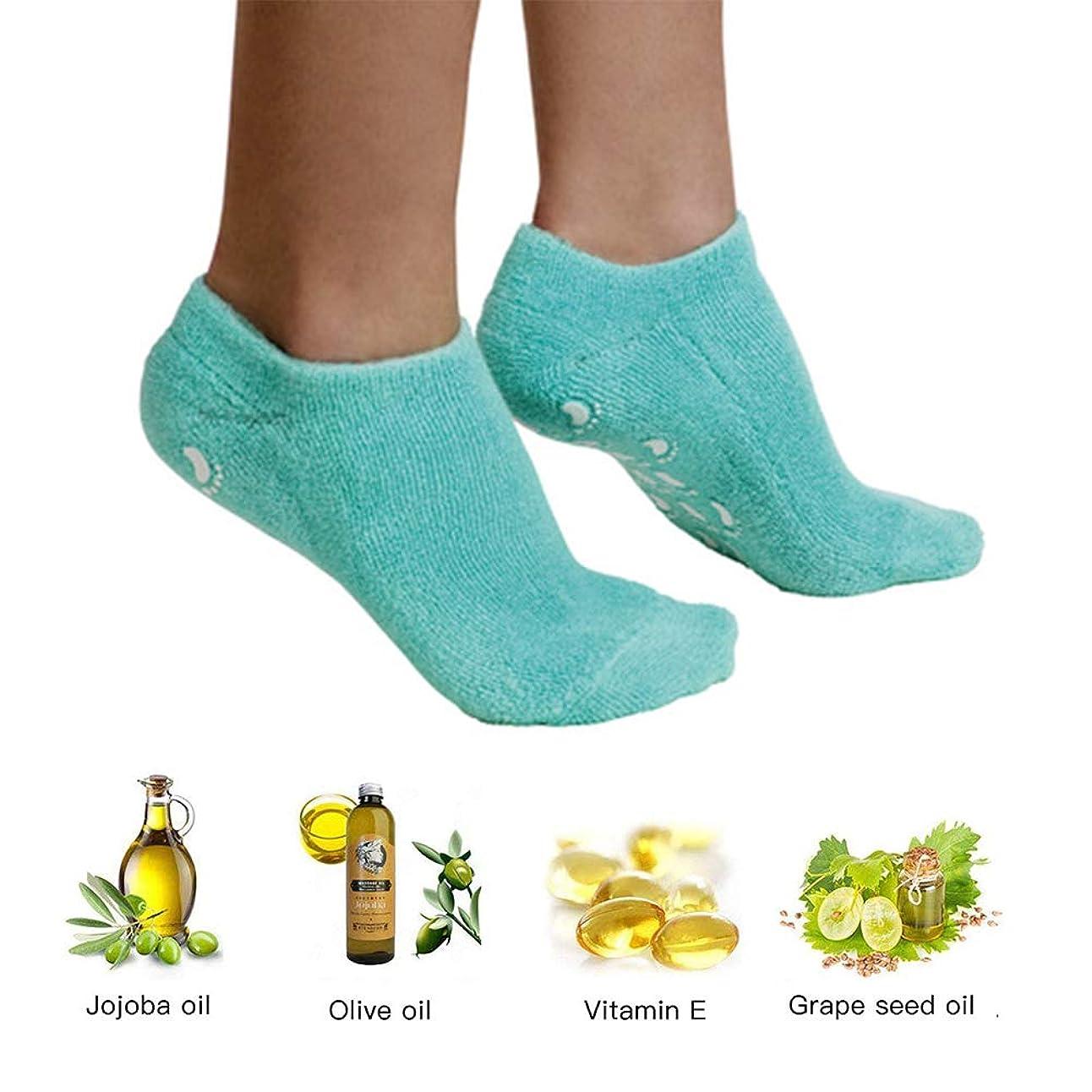 踏み台制限成分エッセンシャルオイルジェル美容保護手袋ソックスフットカバー男性と女性のかかとフルフットシリコーン保湿白い抗クラッキングソックス,1PCS