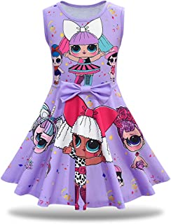 Little Girls Casual Dress Sleeveless Digital Printing Pageant Party Birthday Dress for Doll Surprised