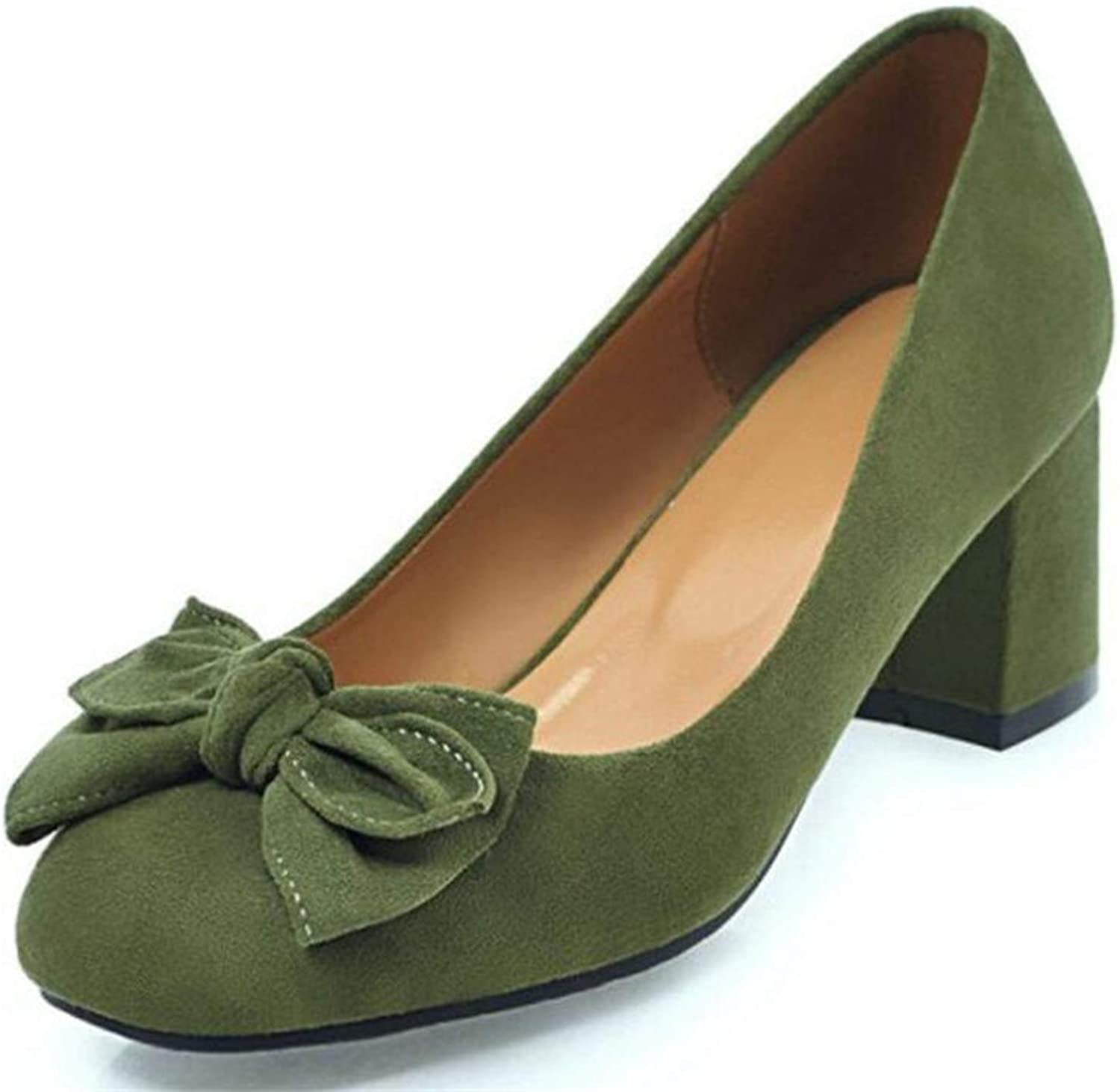 Mao YiE Bow Suede Square Head Single shoes in The Spring with Thick with Low shoes Women