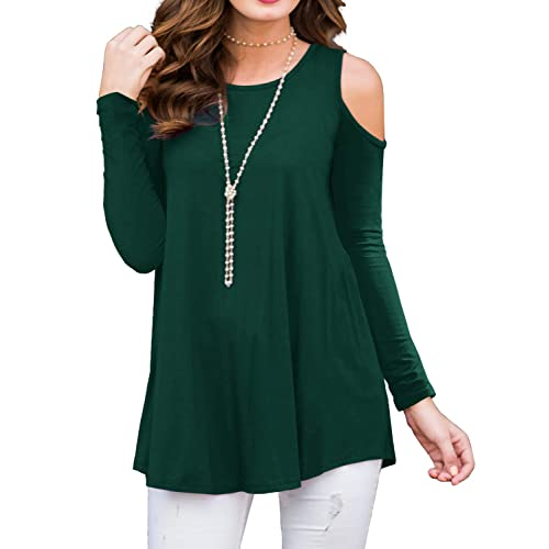 822aa1840d2 PrinStory Women's Short Sleeve Casual Cold Shoulder Tunic Tops Loose Blouse  Shirts