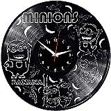 Minions Reloj de Pared Vintage Diseño Moderno Reloj Colgante de Vinilo Reloj de Pared Reloj único 12 Idea de Regalo Creativo Reloj de Pared de Vinilo Minions