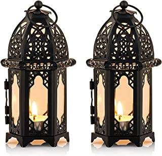 Nuptio 2 Pcs Metal Tealight Candle Holder Small Sized Wedding Centerpieces Transparent Glass Hanging Lanterns Creative Wed...