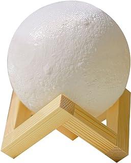 Vosarea 3Dムーンナイトライトチャージングディマブルタッチスイッチ、木製ベースとタッチセンサー付き