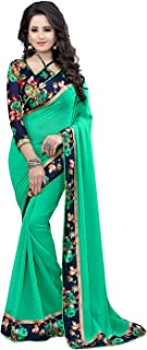 RJB women's Georgette saree with blouse piece(Multi-colored_free size) (B-Green)
