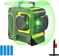 3D Green Beam Self Leveling Rotary Laser Level Tool 3x360 Cross Line Laser Three Plane Leveling and Alignment Line Laser Leveler for Construction Picture Hanging with Rotating Base or Wall Mount