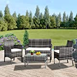 <span class='highlight'>Panana</span> <span class='highlight'>Rattan</span> <span class='highlight'>Garden</span> <span class='highlight'>Furniture</span> <span class='highlight'><span class='highlight'>Set</span></span> 4 <span class='highlight'>Piece</span> <span class='highlight'><span class='highlight'>Set</span></span> Outdoor Wicker Weave Sofa Chair Seat Coffee Table Conversation <span class='highlight'>Furniture</span> <span class='highlight'><span class='highlight'>Set</span></span> with Cushions for Home Lawn Backyard Poolside Patio