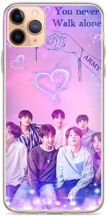 Gryss Compatible with iPhone 11 Case BTS Kpop Logo Text Bangtan Boys Stars Pure Clear Phone Cases Cover