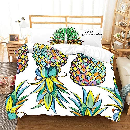 kxry Colorful Pineapple Bedding Set Fruits Letters Printed Duvet Cover Sets for Girls Boys Teens product image