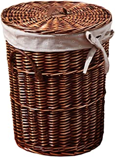 Rattan laundry basket, lined circular laundry bucket, covered sundries basket, beautiful and practical, including machine washable linen lining (Size : S)