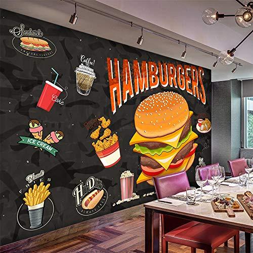 Benutzerdefinierte Wandbilder Jeder Größe 3D Western Burger Brathähnchen Fast Food Restaurant Essen Tapete Restaurant Korridor Wandbild Tapete-400 * 280 Cm
