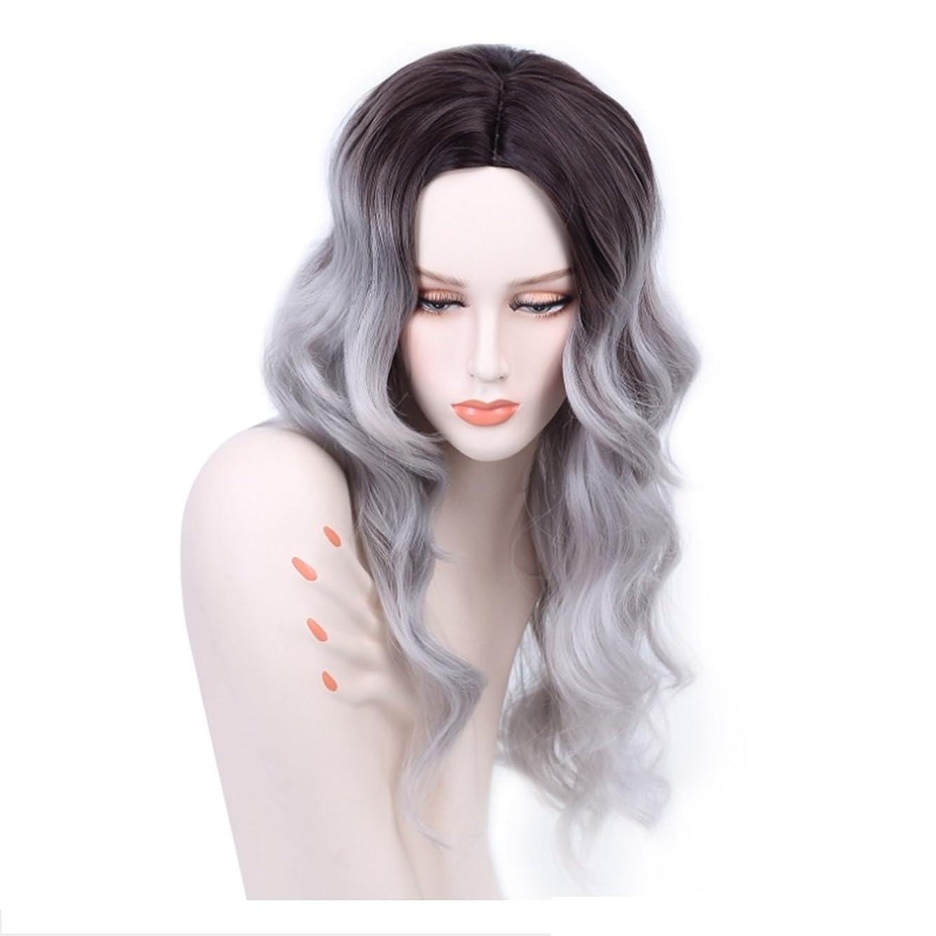 ファンブル脱臼するエチケットKoloeplf 女性のための光沢のある現実的なかつらロングバンズの長いカーリーヘアウィッグ耐熱性のふわふわ毛髪かつら21インチ (Color : Black gradient gray)