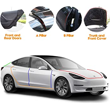 TACHICO Tesla Model 3 Door Seal Kit Soundproof Rubber Weather Draft Seal Strip Wind Noise Reduction Kit