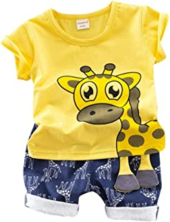 Christmas Merry Wishes 2020 New 2PCS Outfit Set Toddler Baby Boy Suit, Giraffe Print Short Sleeve T-Shirt Shorts Pants Tod...