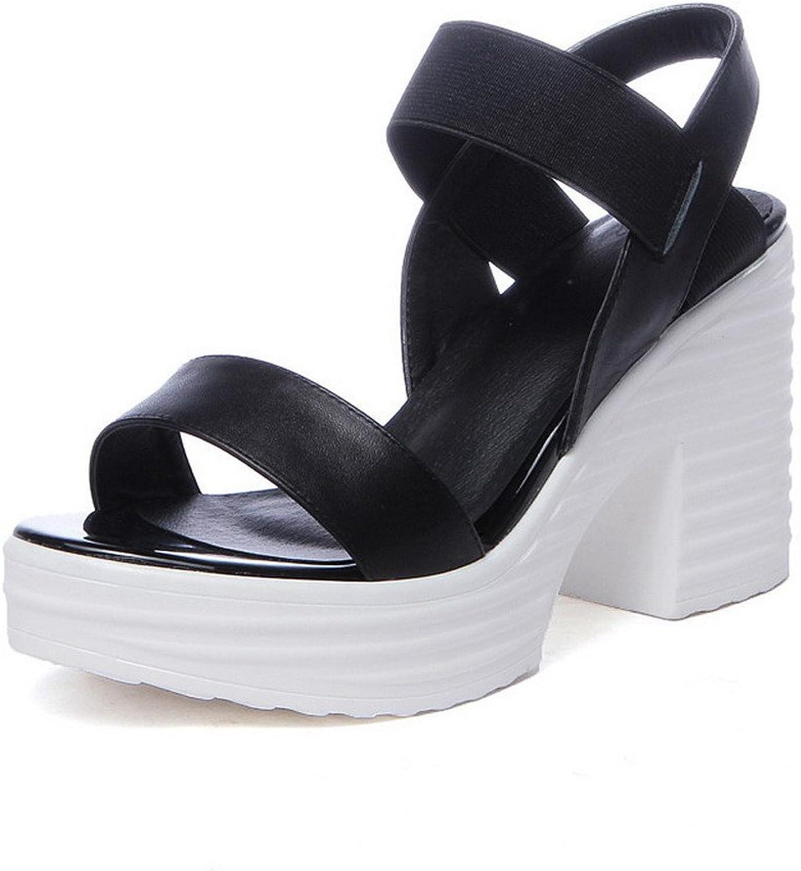 AmoonyFashion Women's High-Heels Soft Material Elastic Open Toe Sandals