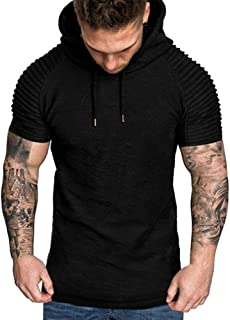 Allywit M-3XL Mens Pleated Slim Fit Raglan Short Sleeve Hoodie Top Blouse