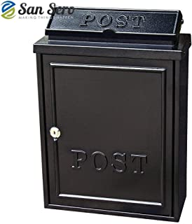 Metal Postbox (BLACK) Elegant Diecast Front - Large Size 16.5 Inch High x 11.5 Inch Wide - Cast Aluminium - Mail Box 🇬🇧 British Design 🇬🇧