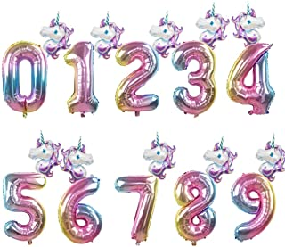 2Pcs Rainbow Unicorn 32Inch Foil Number Balloons Kids Birthday Party Decoration Helium Number Balloon Event Baby Shower Decor Style 1 Number 5