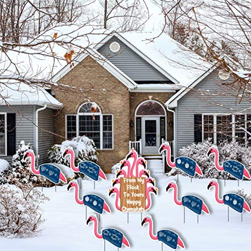 VictoryStore Yard Sign Outdoor Lawn Decorations: Flamingo Chanukah, from My Flock to Yours Happy Chanukah, Hanukkah Lawn Decorations, 10pcs, Includes Ez Stakes, 13745