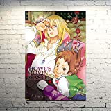 KWzEQ Decoración del hogar nórdico Lienzo Castillo Anime Manga Mural Art Print Poster Living Room,Pintura sin Marco,40X60cm